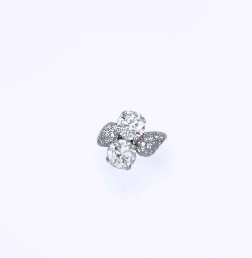 A TWIN-STONE DIAMOND RING