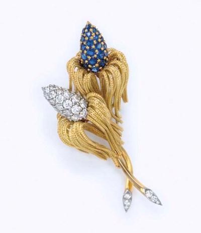 A DIAMOND AND SAPPHIRE FLOWER