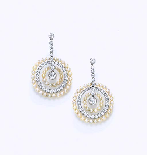 A PAIR OF SEED PEARL AND DIAMO