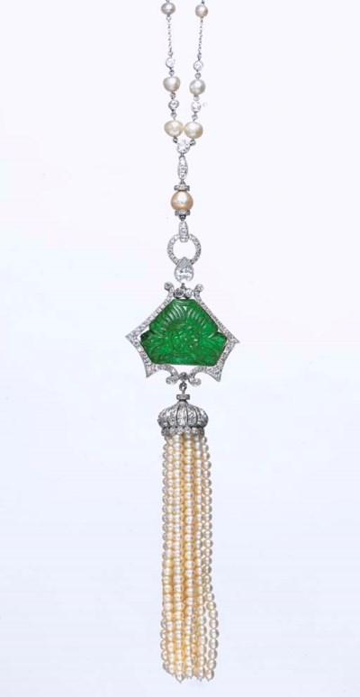A PEARL, EMERALD AND DIAMOND N