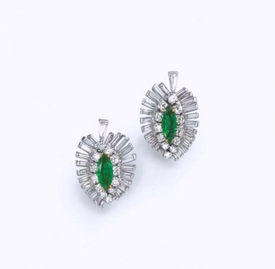 A PAIR OF EMERALD AND DIAMOND