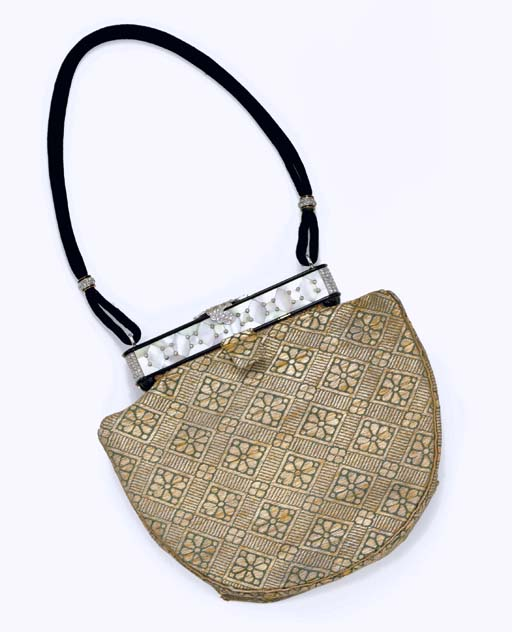 AN ART DECO MOTHER-OF-PEARL, ENAMEL AND DIAMOND EVENING BAG, BY CARTIER