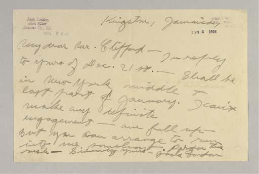 LONDON, Jack. Autograph letter
