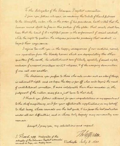 The letter of President Thomas