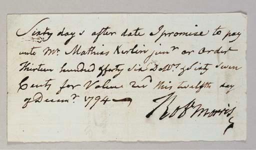 MORRIS, Robert. Autograph docu