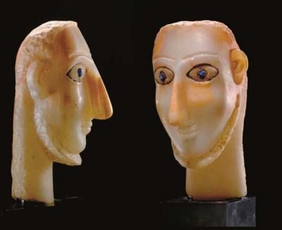 A SOUTH ARABIAN ALABASTER HEAD