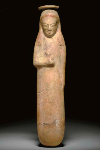 A RHODIAN POTTERY FIGURAL ALAB
