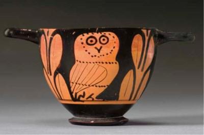 A GREEK RED-FIGURED OWL SKYPHO