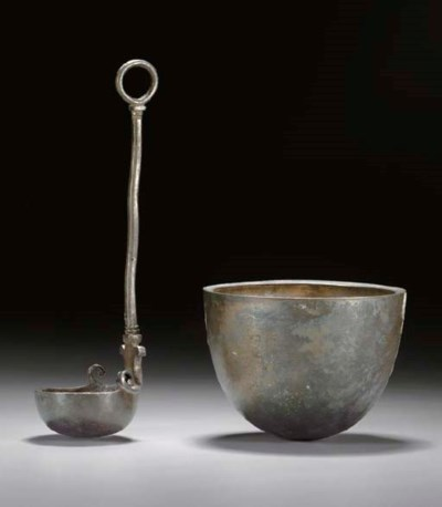A GREEK SILVER BOWL AND LADLE