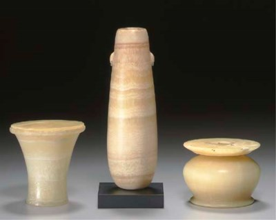 THREE EGYPTIAN ALABASTER VESSE