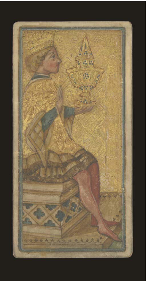 Visconti-Sforza, King of Cups Tarocchi Card, Milan, circa 1900s?, artist unknown, painted on parchment and underlaid with paper and cardboard, upper two thirds of background is leaf-gilded and tooled. The king faces to the right and holds a large ornate vessel in his left hand while he makes the sign of benediction or greeting with his other hand. The heraldic device of a sun appears on the king's cape. The king's bulging eyes and sunken cheeks are similar to the king of cups, facing to the left, of the Von Bartsch Visconti-Sforza Tarocchi cards. Back is plain reddish brown.  Size 6 11/16 in. (17.1.) high, 3 3/8 in. (87 cm.) wide.  Kaplan I & II, var.