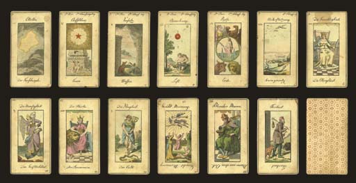 Grand Etteilla I Tarot, circa 1850s?, Germany, card maker unknown, 20 of 78 cards (includes Major Arcana 1-5, 7, 9-17, 24, 36, 48, 68 and Folly), hand-colored copper engravings.  Cards are full length figures, double-ended card titles or meanings in German, cards 1 to 5 and 9 to 12 have titles reading upright instead of reversed, cards 2 to 5 and 7 have text across the top (card 2 has the second element for fire and 1st day of creation, 3 has the first Element for water and 3rd day of creation, 4 has the third Element for air and 2nd day of creation, 5 has fourth element for earth and 6th day of creation, 7 has the seventh day of creation being the day of rest), cards 1 to 5, 7 and 9 to 12 have signs of the zodiac on upper left side (1 Aries, 2 Taurus, 3 Gemini, 4 Cancer, 5 Leo, 7 Libra, 9 Sagittarius, 10 Capricorn, 11 Aquarius, 12 Pisces), the 2 of cups card number 48 has uncolored panel at bottom, the 10 of coins card number 68 is also uncolored in panel at bottom but includes a sext