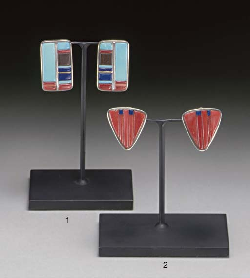 A PAIR OF HOPI SILVER AND STON