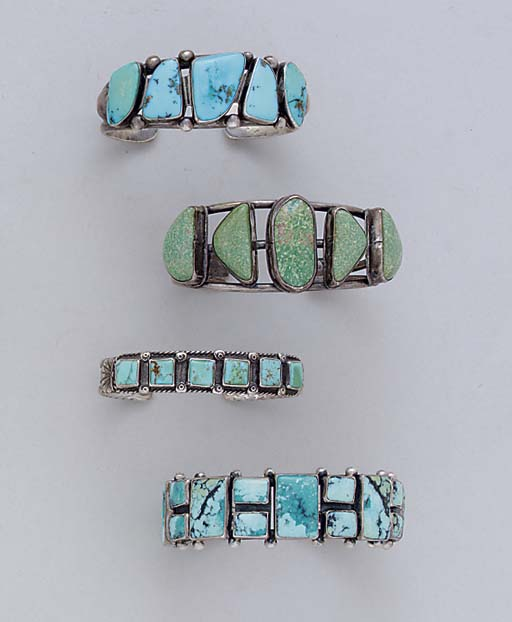 FOUR NAVAJO SILVER AND TURQUOI
