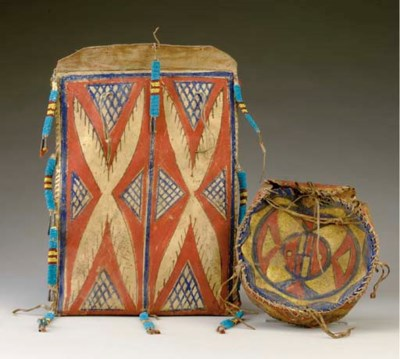 TWO SIOUX PAINTED PARFLECHE EN