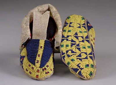 A PAIR OF SIOUX CHILD'S BEADED