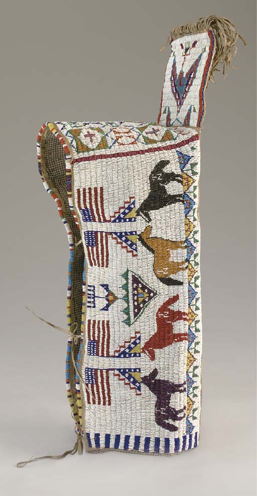 A SIOUX PICTORIAL BEADED HIDE