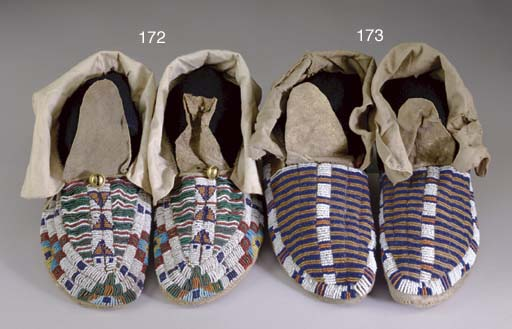 A PAIR OF SIOUX BEADED HIDE MO