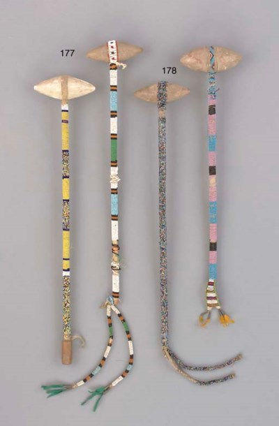 TWO SIOUX BEADED STONEHEAD CLU