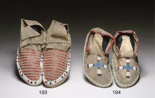 TWO PAIRS OF SIOUX BEADED HIDE