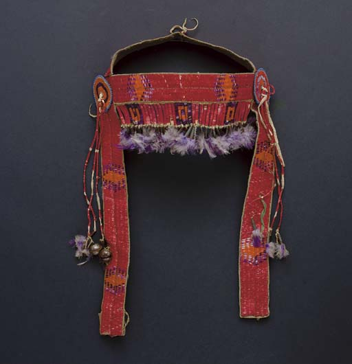 A SIOUX QUILLED HIDE HORSE HEA