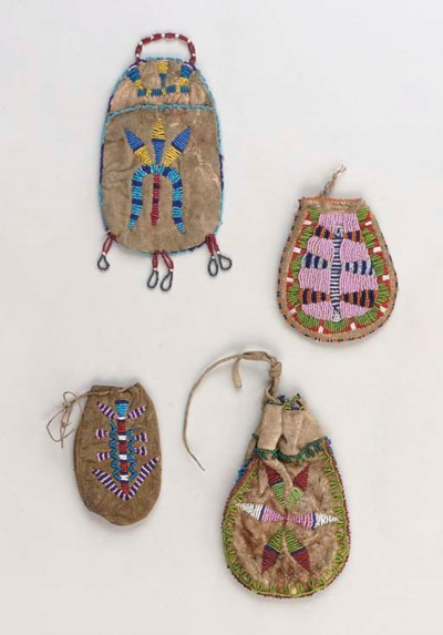 FOUR SIOUX BEADED HIDE POUCHES