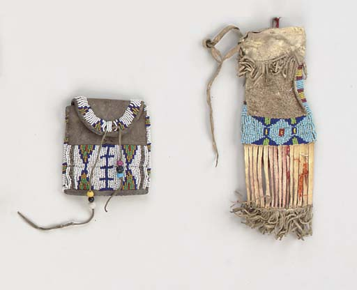 TWO SIOUX BEADED HIDE POUCHES
