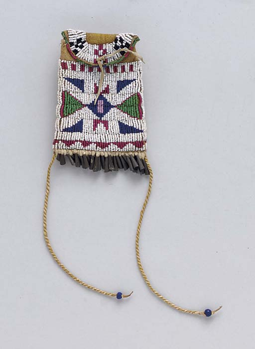 A SIOUX BEADED HIDE STRIKE-A-L