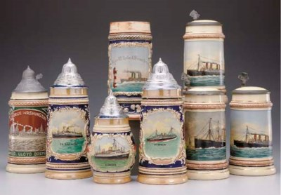 A group of beer steins for the