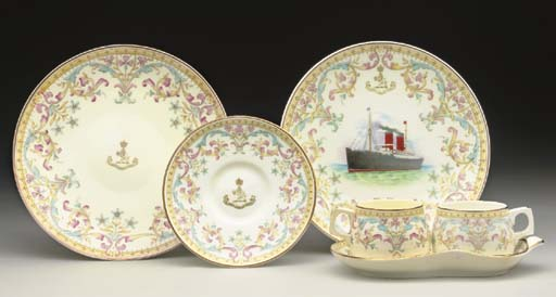 A GROUP OF SOUVENIR CHINA FOR THE CUNARD LINE