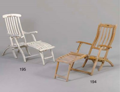 AN OAK FOLDING DECK CHAIR FOR