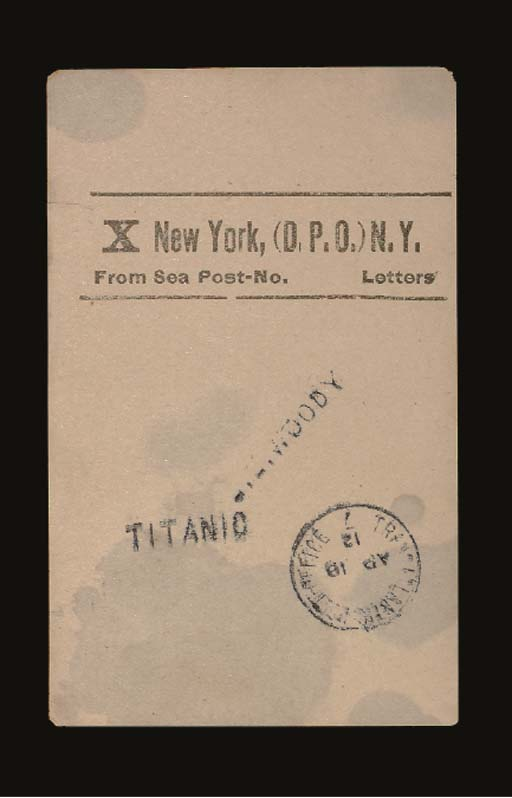 A FACING SLIP FROM A POSTAL CLERK ON BOARD R.M.S. TITANIC