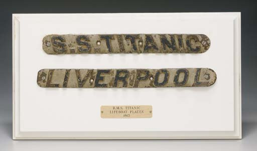 A PAINTED CAST BRONZE NAME BOARD AND PORT SIGN FROM A LIFEBOAT ON R.M.S. TITANIC