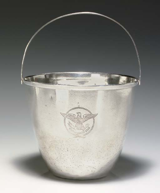AN ICE BUCKET IN PLATE FOR THE S.S. UNITED STATES