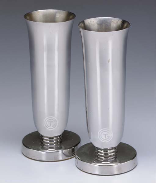 A PAIR OF CHROME METAL VASES FROM THE S.S. ILE DE FRANCE FOR THE FRENCH LINE (CGT)