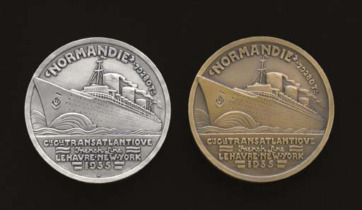A STERLING SILVER AND A BRONZE MEDALLION FOR THE MAIDEN VOYAGE OF THE S.S. NORMANDIE