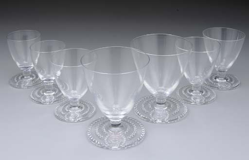 A GROUP OF GLASSES FOR THE PRIVATE SUITES FROM THE S.S. NORMANDIE FOR THE FRENCH LINE (CGT)