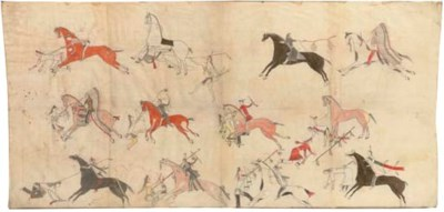 A SIOUX PAINTED PICTORIAL MUSL