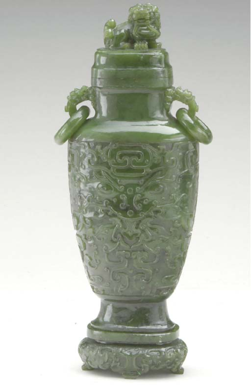 A CHINESE SPINACH-GREEN JADE V