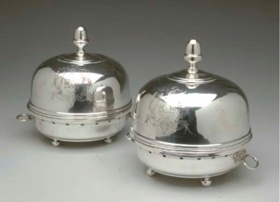 A PAIR OF  ENGLISH SILVER-PLAT
