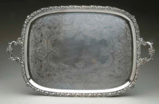 THREE SILVER-PLATED TRAYS AND