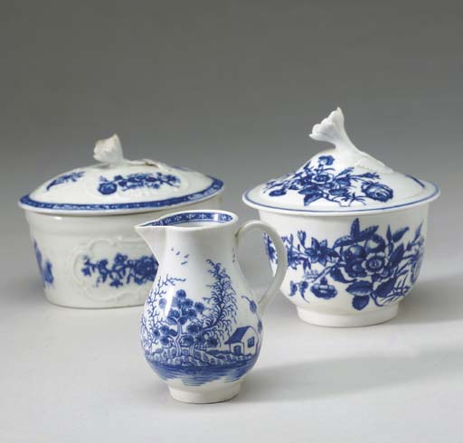 FOUR WORCESTER PORCELAIN BLUE