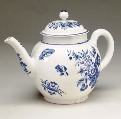 A ENGLISH PORCELAIN BLUE AND W