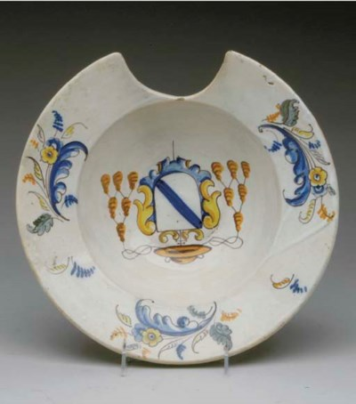 AN ENGLISH DELFT BARBER'S BOWL