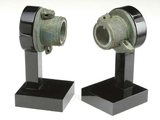 A PAIR OF CHINESE BRONZE AXLE