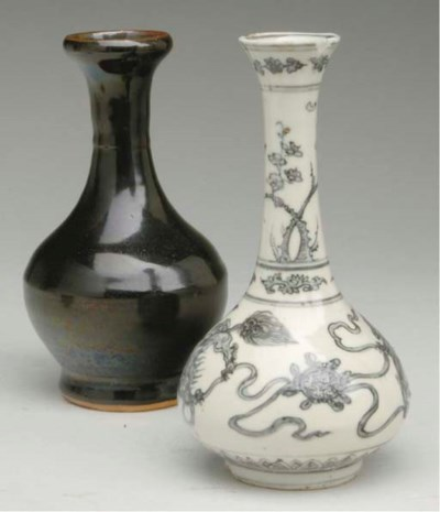 TWO CHINESE BOTTLE VASES,