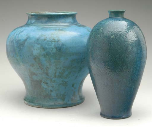 TWO CHINESE TURQUOISE-GLAZED P