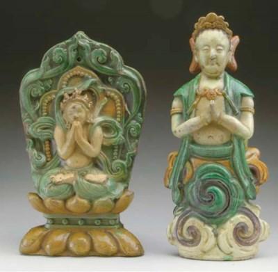 THREE CHINESE GREEN, AMBER AND