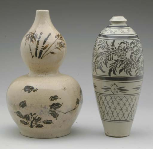 TWO ASIAN  PAINTED CREAM-GLAZE
