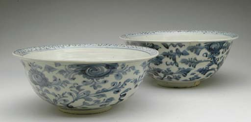 TWO LARGE CHINESE BLUE AND WHI